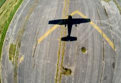 Aerial view of a small plane shadow during landing, BC Canada Stock Photos