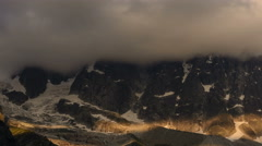 Glaciers below Aguille du Dru evening alpenglow time lapse 4K Stock Footage