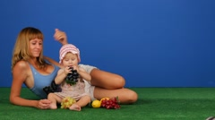 Woman With A Child Babysit Stock Footage