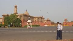 Police men on road at Central Secretariat,New Delhi,India Stock Footage
