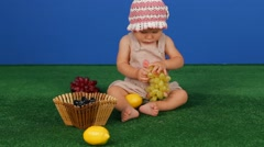 Girl With A Basket Of Fruit Stock Footage