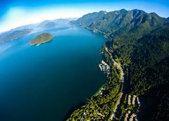 Aerial view of Howe Sound and Sea to Sky Highway, BC Canada Stock Photos