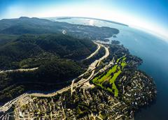 Aerial view of West Vancouver and English Bay, BC Canada Stock Photos
