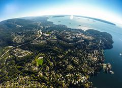 Stock Photo of Aerial view of West Vancouver and English Bay, BC Canada