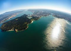 Aerial view of downtown Vancouver with English Bay in foreground, BC Canada Stock Photos