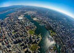 Aerial view of downtown Vancouver and False Creek, BC Canada Stock Photos