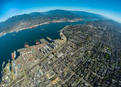 Aerial view of Vancouver and Burrard Inlet, BC Canada - stock photo