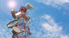 Time lapse antenna communication tower and blue sky Stock Footage