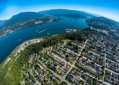 Aerial view of Burnaby and Indian Arm, BC Canada Stock Photos