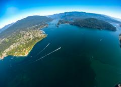 Aerial view of Belcarra and Indian Arm, BC Canada Stock Photos