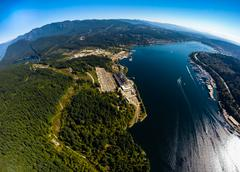 Aerial view of Burrard Inlet towards Port Moody, BC Canada Stock Photos