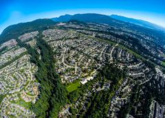 Stock Photo of Aerial view of Port Moody suburbs, BC Canada