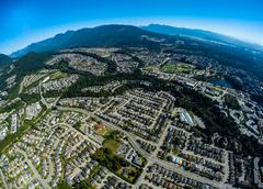 Aerial view of Port Moody suburbs, BC Canada - stock photo