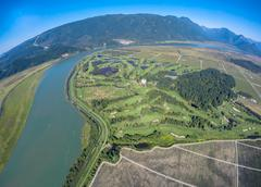 Aerial view of Swaneset Golf course Pitt Meadows, BC Canada - stock photo