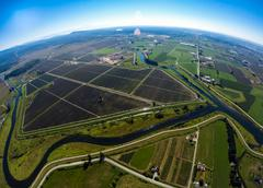 Aerial view of Pitt Meadows farming area and river, BC Canada - stock photo