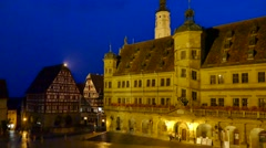 Town Hall at Market Square, Rothenburg ob der Tauber, Germany Stock Footage