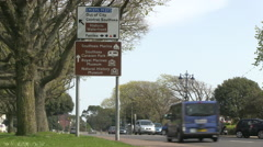 Brown Tourist Information and Road Directions Sign in Southsea Hampshire Stock Footage