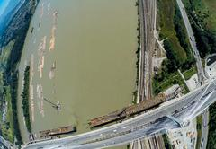 Aerial view of the Port Mann Bridge, BC Canada - stock photo