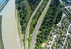 Aerial view of railroad and highway, BC Canada Stock Photos