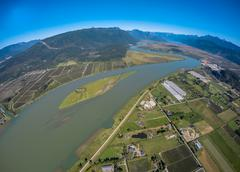 Aerial view of Pitt River, BC Canada Stock Photos
