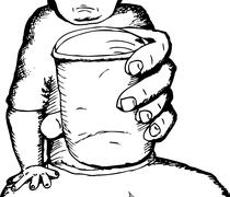 Outline of Person with Cup Stock Illustration