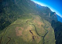 Aerial view of mountains near Pitt Lake, BC Canada - stock photo
