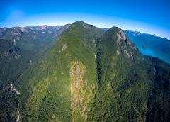 Aerial view of mountains near Pitt Lake, BC Canada Stock Photos