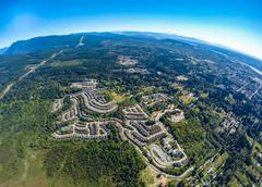 Aerial view of subdivision in Pitt Meadows, BC Canada - stock photo