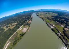 Aerial view of the Fraser Valley and Fraser River, BC Canada - stock photo