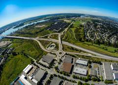 Aerial view of Pitt Meadows, BC Canada - stock photo