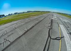 Airport runway as seen from an airplane, BC Canada Stock Photos