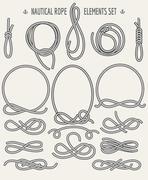 Nautical Rope Elements Set Stock Illustration