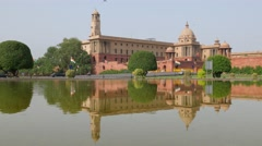 Central Secretariat with reflection and black limousine,New Delhi,India Stock Footage