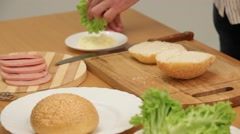 Cook, sandwich Stock Footage