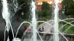 "Fountain ""Four Seasons"" on Manezh Square in Moscow, Russia Stock Footage"