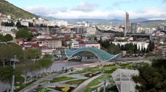 Panorama view of city center in Tbilisi, Georgia Stock Footage