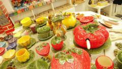 Terracotta store in Lisbon Stock Footage