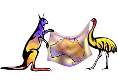 australia map with kangaroo and ostrich - stock illustration