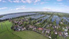 Drone aerial footage of Dutch small town island lake and water 4k Stock Footage