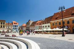 Usual day at Council Square, Brasov - stock photo