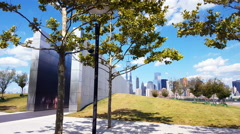 Empty Sky Memorial Wall for September 11 at Jersey City Time Lapse 4K Stock Footage