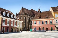 Black Church near the Council Square in Brasov, Romania Stock Photos