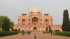 People walking to and from Humayun's Tomb,New Delhi,India - stock footage