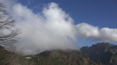 4k Clouds timelapse over mountain peaks in Madeira Stock Footage