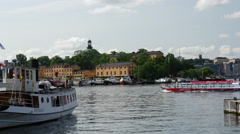 Sightseeing boat in Stockholm Sweden Stock Footage