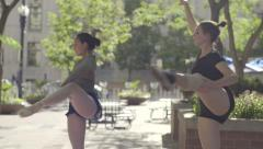 Ballerinas Practice Dance Choreography Together In City Park (Slow Motion) Stock Footage