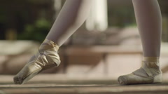 Ballerina Legs Dance En Pointe, In A Park (Slow Motion) Stock Footage