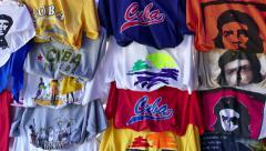 Souvenirs Gifts Shirts Market Shop Tourist Fair Shopping Varadero Cuba - stock footage