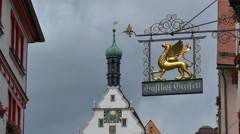 Typical Signboard, Rothenburg ob der Tauber, Germany Stock Footage