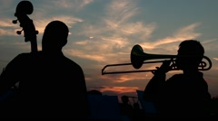 Trumpet sunset Stock Footage
